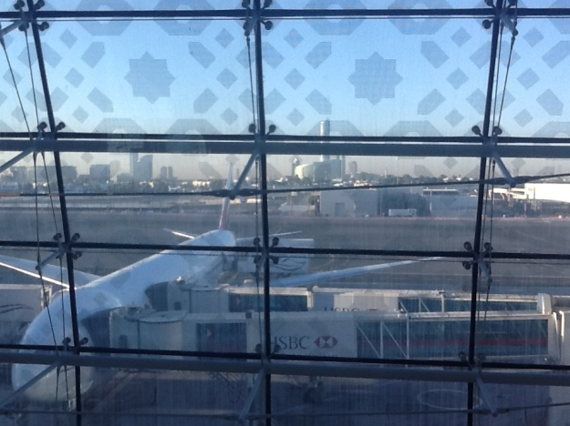 The Dubai skyline as seen from the airport.
